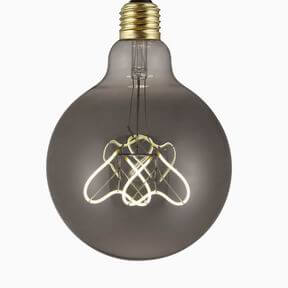 Heart Filament smoky gray glass antique led bulbs