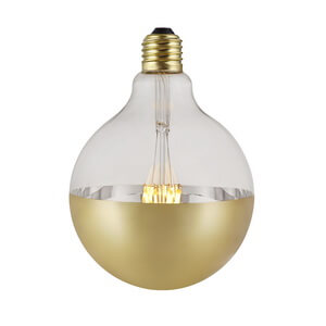 Gold Capped Mirror Reflecting Vintage Led Bulbs G125 Spot Globe